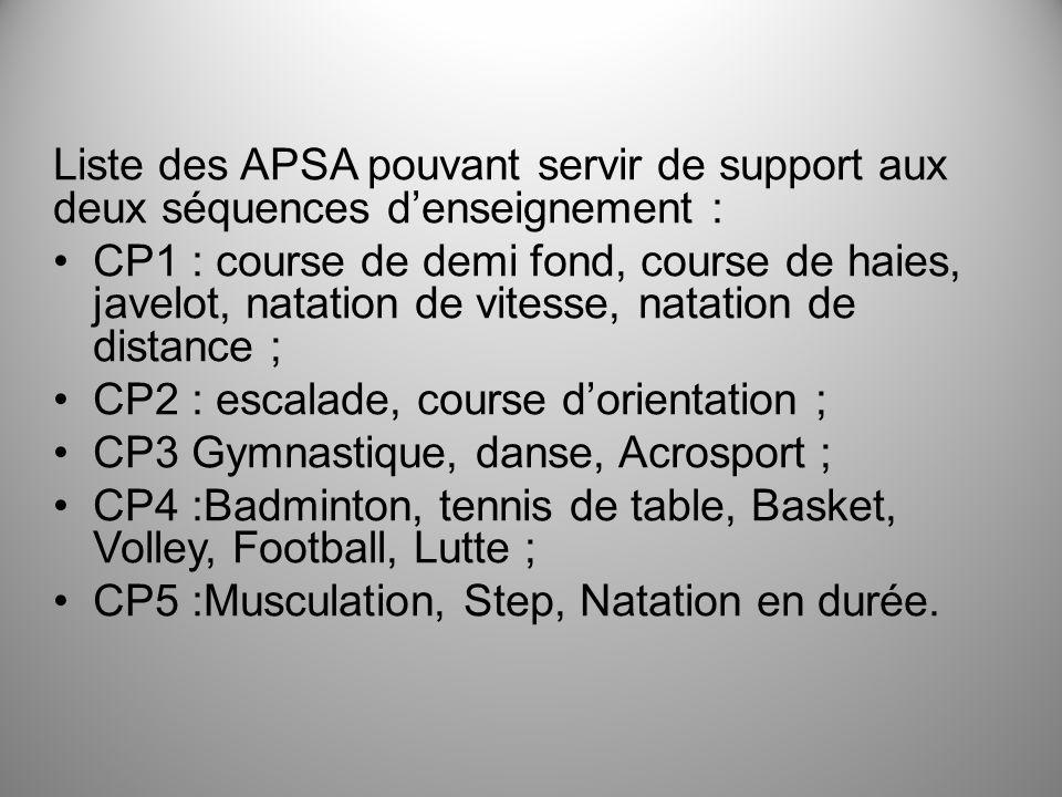 Liste des APSA pouvant servir de support aux deux séquences d'enseignement :