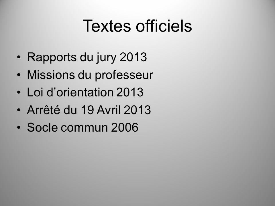 Textes officiels Rapports du jury 2013 Missions du professeur