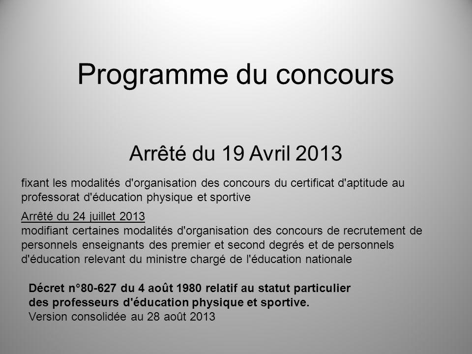 Programme du concours Arrêté du 19 Avril 2013