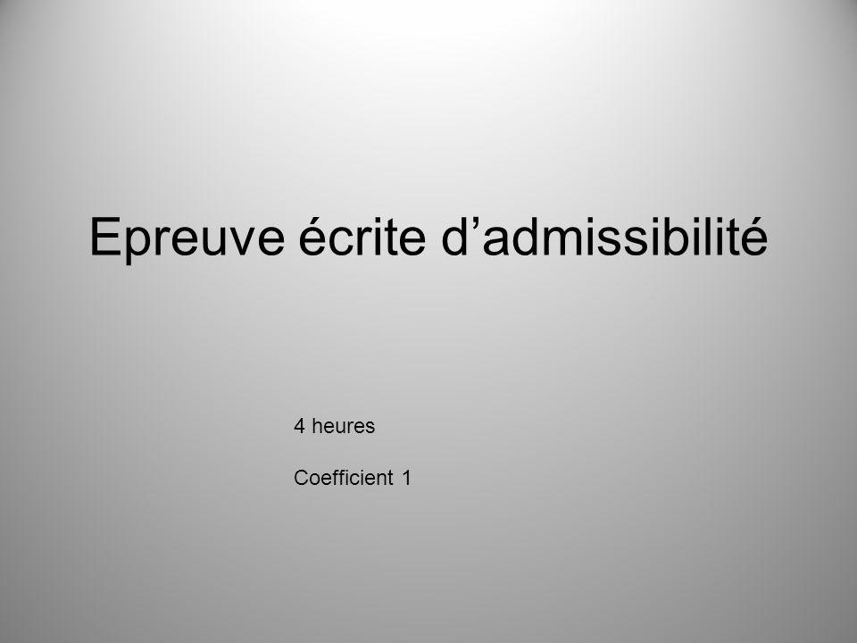 Epreuve écrite d'admissibilité