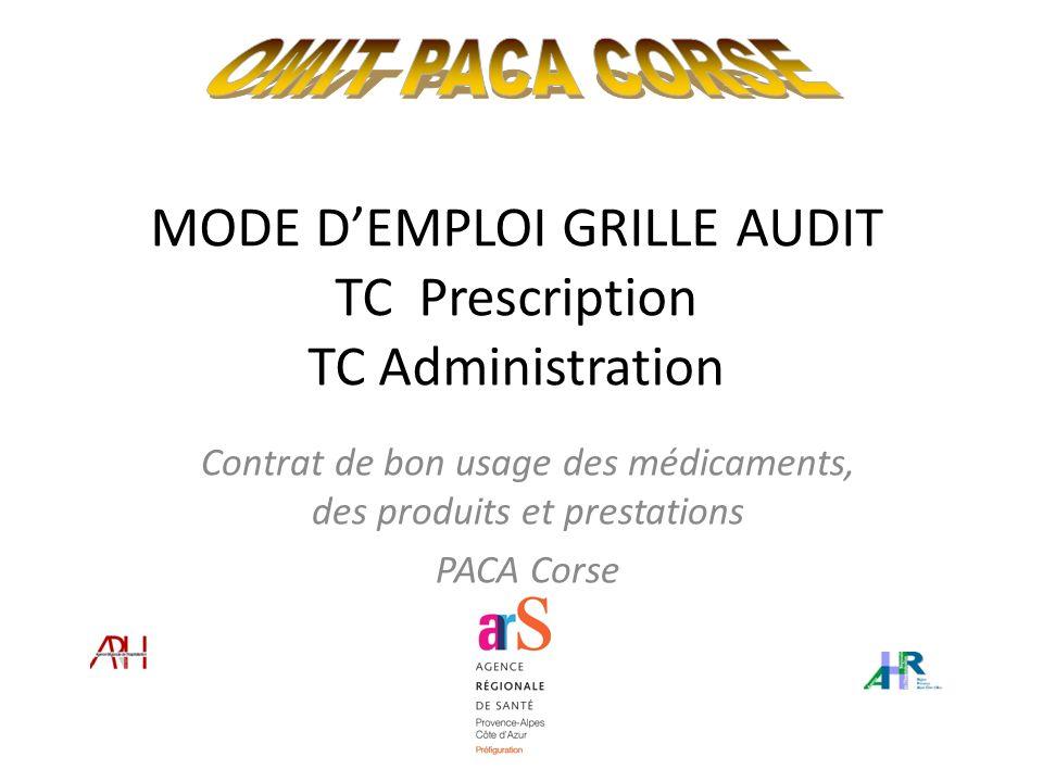MODE D'EMPLOI GRILLE AUDIT TC Prescription TC Administration