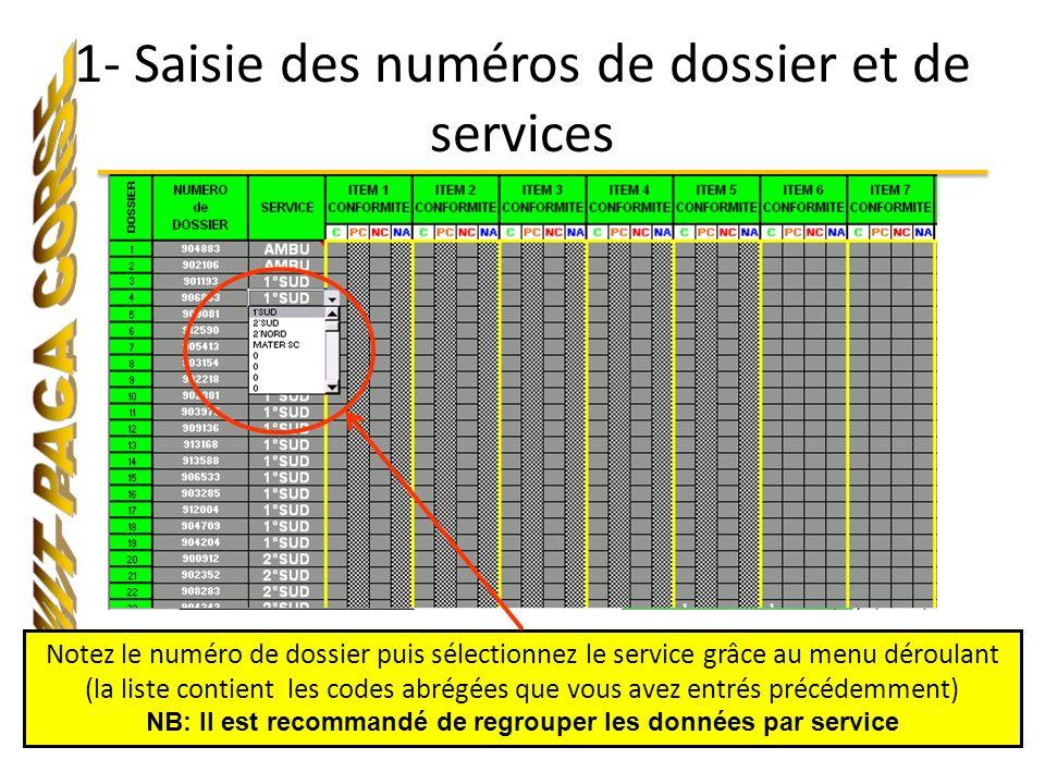 1- Saisie des numéros de dossier et de services