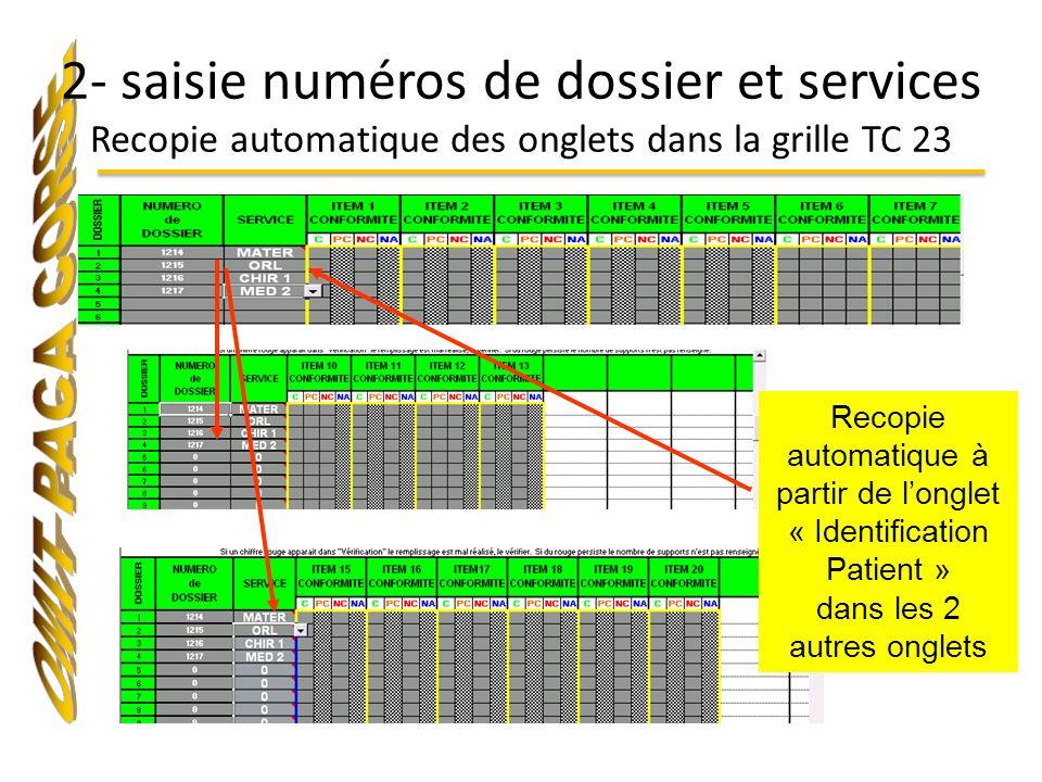 2- saisie numéros de dossier et services Recopie automatique des onglets dans la grille TC 23