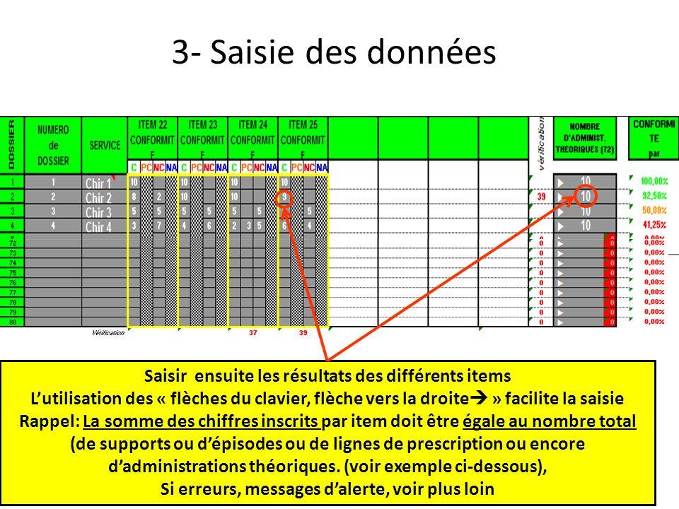 3- Saisie des données Saisir ensuite les résultats des différents items.