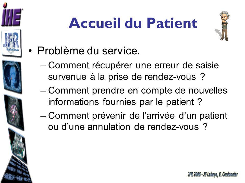 Accueil du Patient Problème du service.