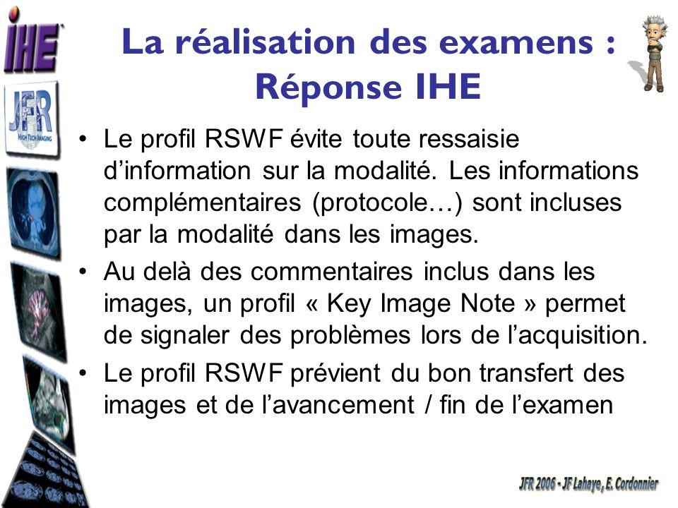 La réalisation des examens : Réponse IHE