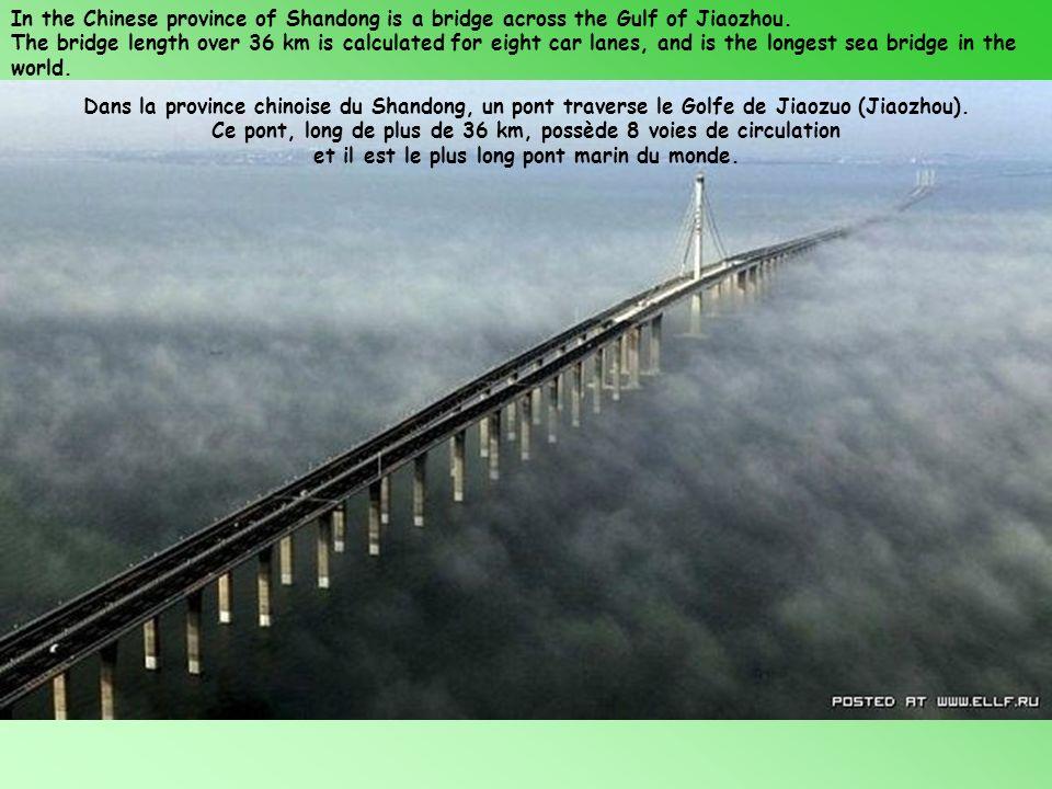 Ce pont, long de plus de 36 km, possède 8 voies de circulation