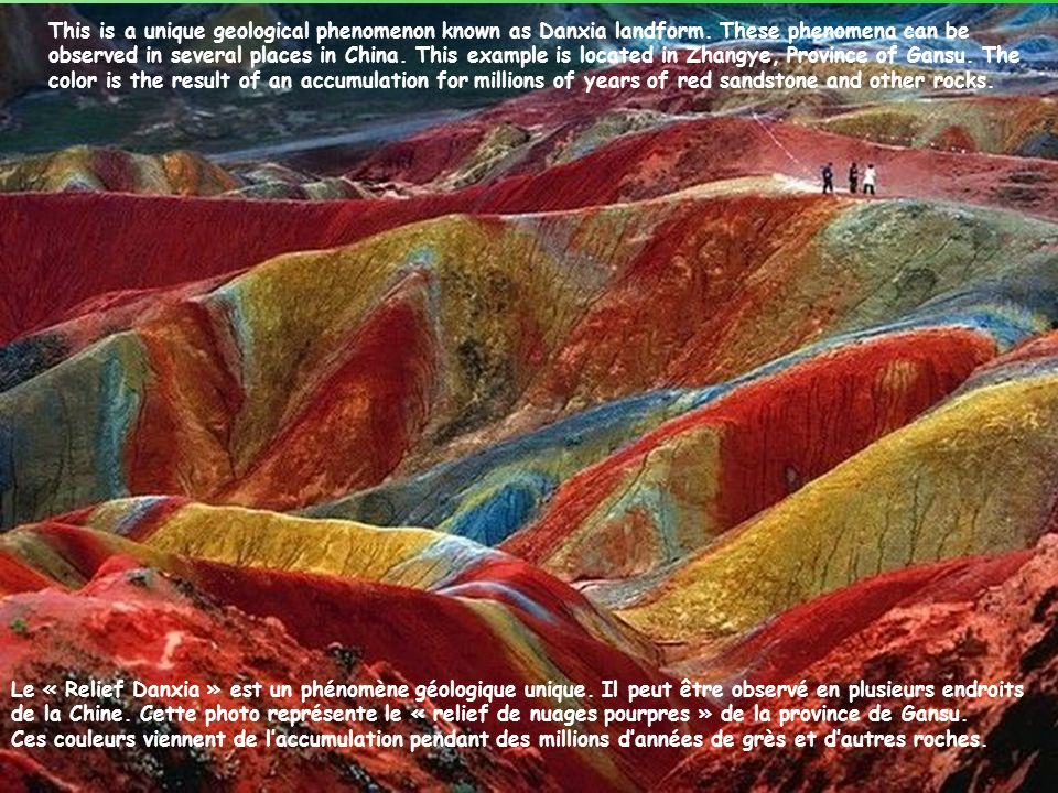 This is a unique geological phenomenon known as Danxia landform