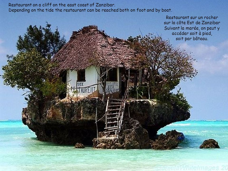 Restaurant on a cliff on the east coast of Zanzibar
