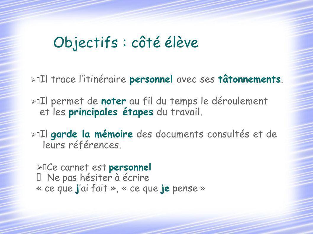Objectifs : côté élève et les principales étapes du travail.