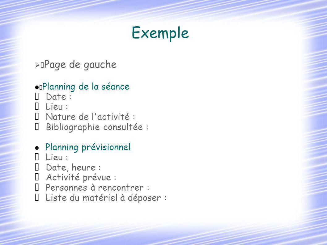 Exemple  Date :  Lieu :  Nature de l activité :