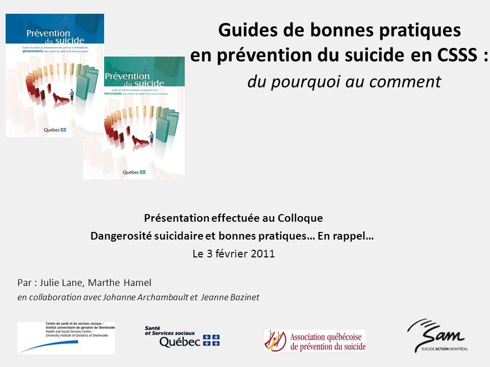 Guides de bonnes pratiques en prévention du suicide en CSSS : du pourquoi au comment