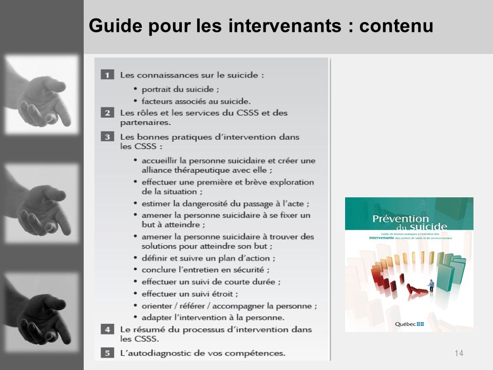 Guide pour les intervenants : contenu
