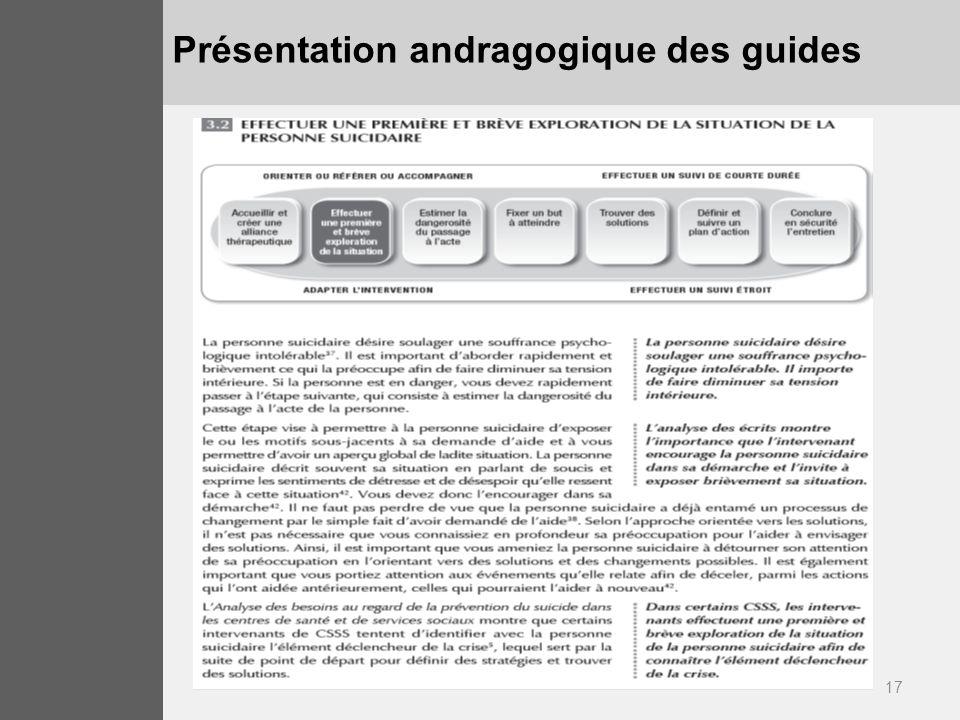 Présentation andragogique des guides
