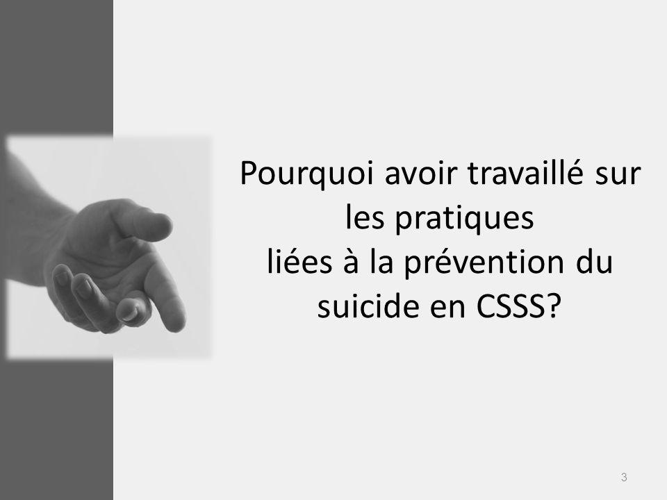Pourquoi avoir travaillé sur les pratiques liées à la prévention du suicide en CSSS
