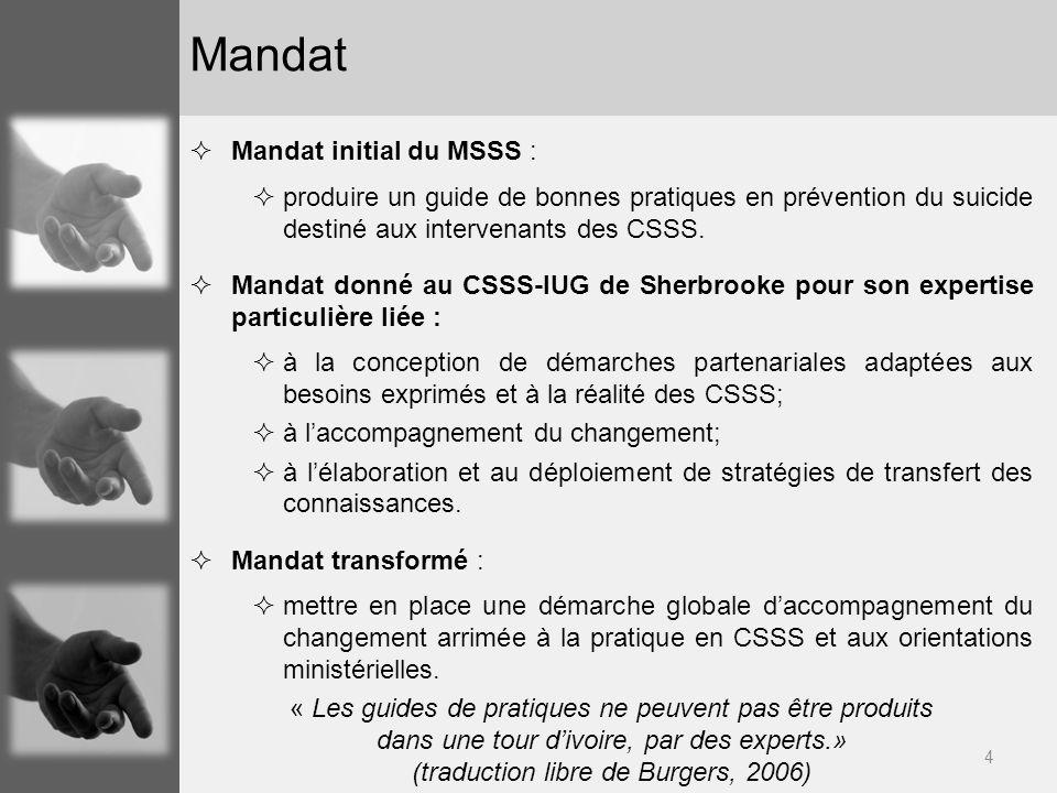 Mandat Mandat initial du MSSS :
