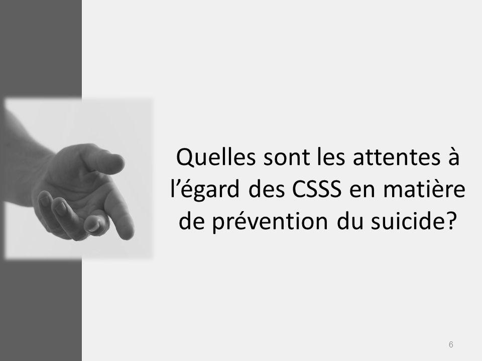Quelles sont les attentes à l'égard des CSSS en matière de prévention du suicide