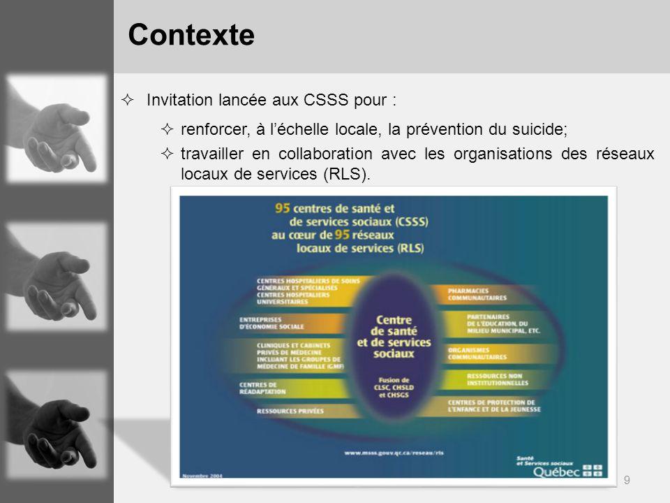 Contexte Invitation lancée aux CSSS pour :