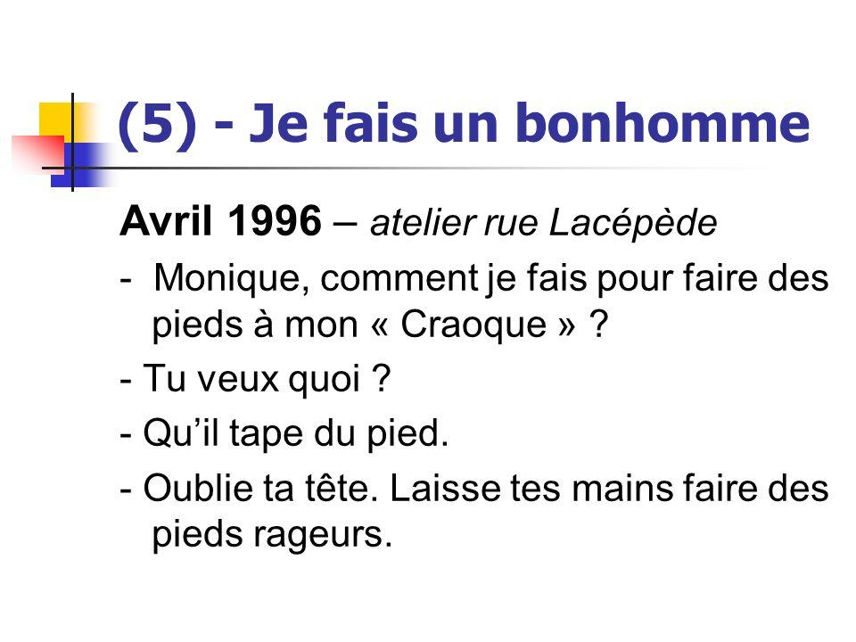 (5) - Je fais un bonhomme Avril 1996 – atelier rue Lacépède