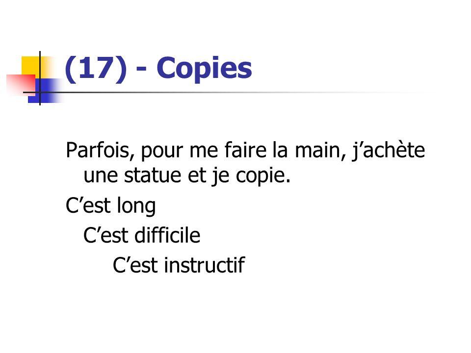 (17) - Copies Parfois, pour me faire la main, j'achète une statue et je copie. C'est long. C'est difficile.
