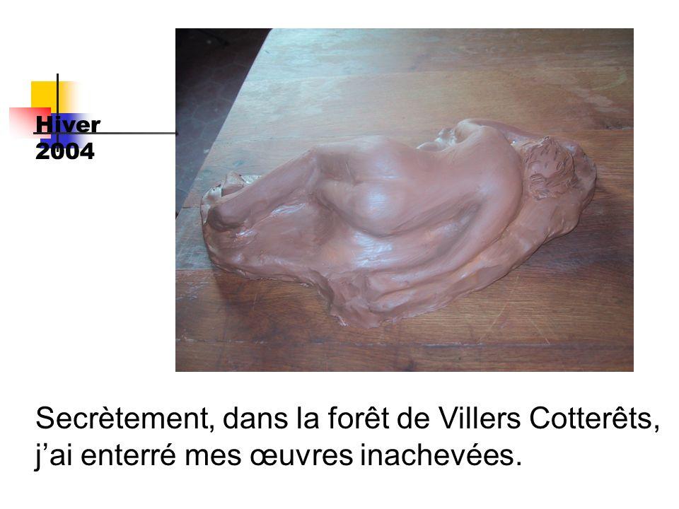 Hiver 2004 Secrètement, dans la forêt de Villers Cotterêts, j'ai enterré mes œuvres inachevées.