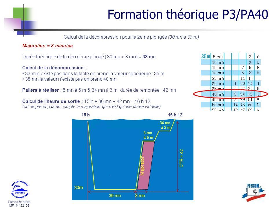 Calcul de la décompression pour la 2ème plongée (30 mn à 33 m)