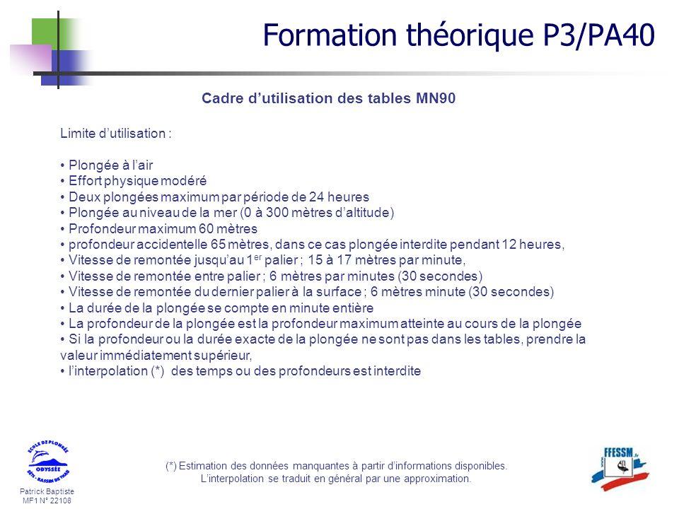 Cadre d'utilisation des tables MN90