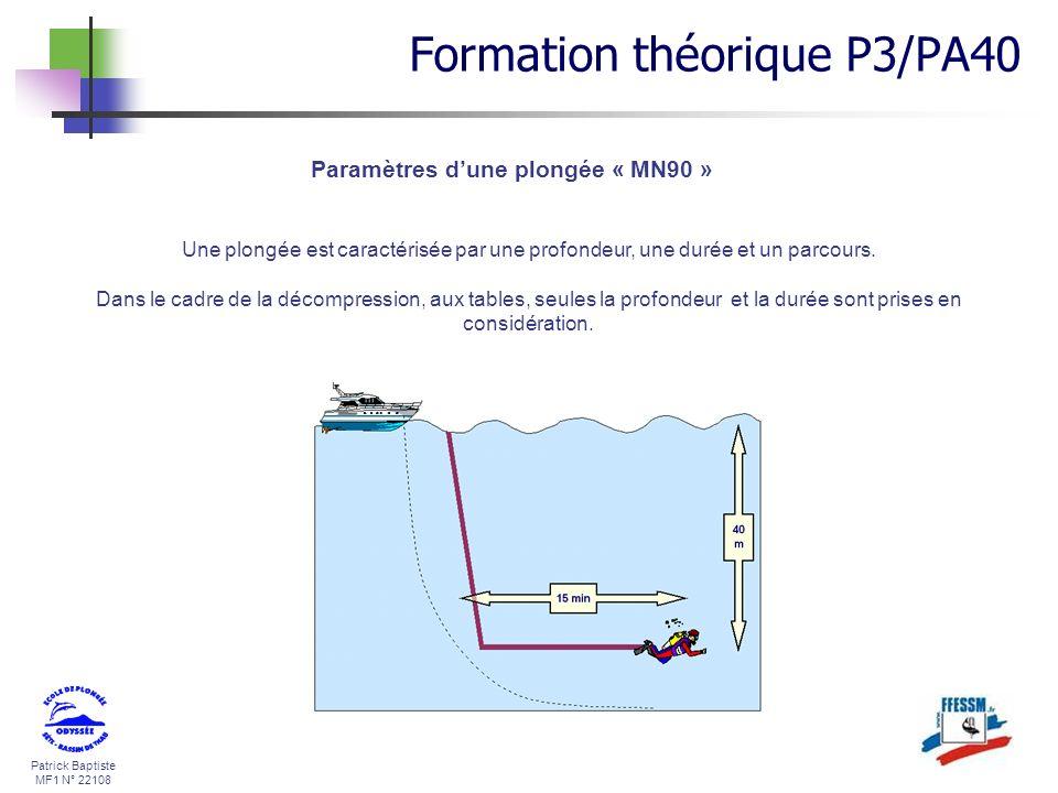 Paramètres d'une plongée « MN90 »