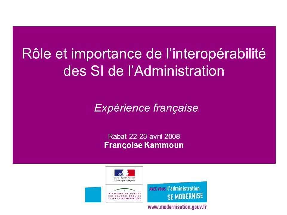 Rôle et importance de l'interopérabilité des SI de l'Administration Expérience française Rabat 22-23 avril 2008 Françoise Kammoun