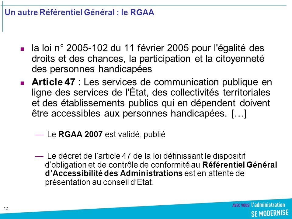 Un autre Référentiel Général : le RGAA