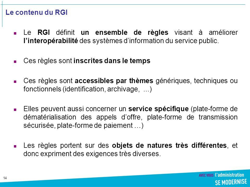 Le contenu du RGI Le RGI définit un ensemble de règles visant à améliorer l'interopérabilité des systèmes d'information du service public.