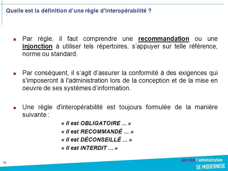 Quelle est la définition d'une règle d interopérabilité