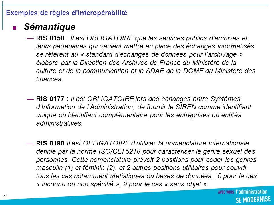 Exemples de règles d interopérabilité