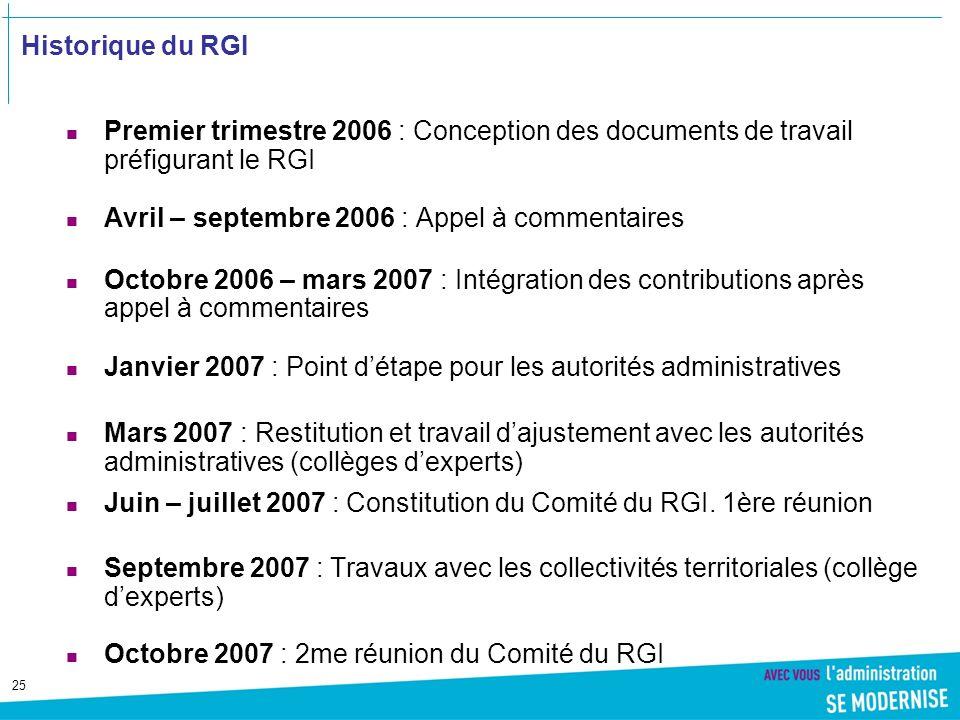 Historique du RGI Premier trimestre 2006 : Conception des documents de travail préfigurant le RGI. Avril – septembre 2006 : Appel à commentaires.