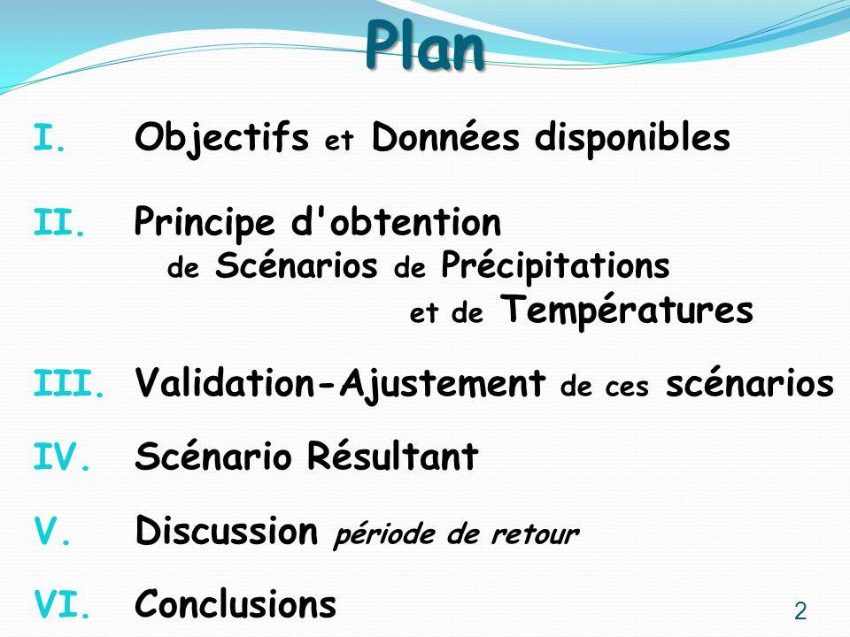 Plan Objectifs et Données disponibles Principe d obtention