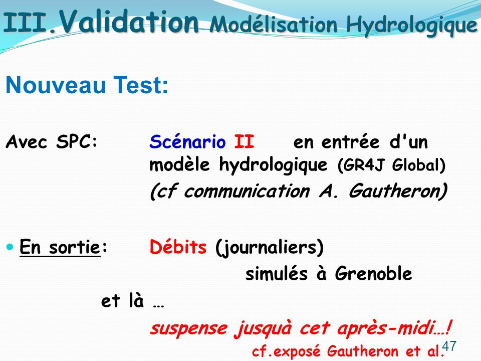 III.Validation Modélisation Hydrologique
