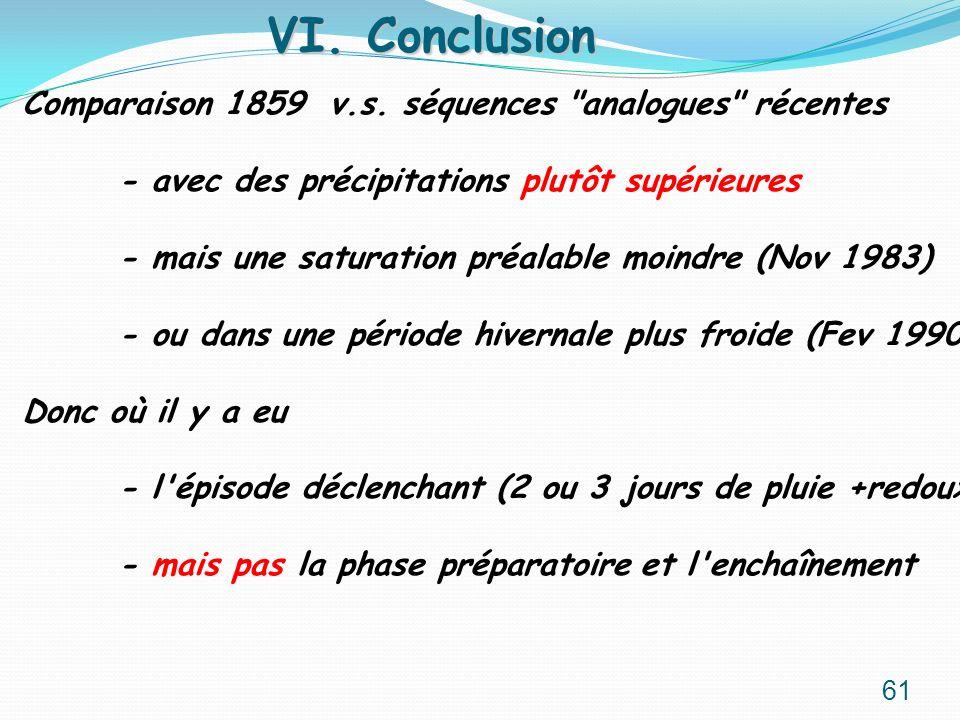 VI. Conclusion Comparaison 1859 v.s. séquences analogues récentes