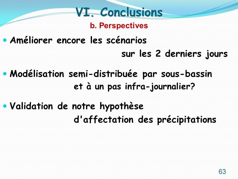 VI. Conclusions Améliorer encore les scénarios
