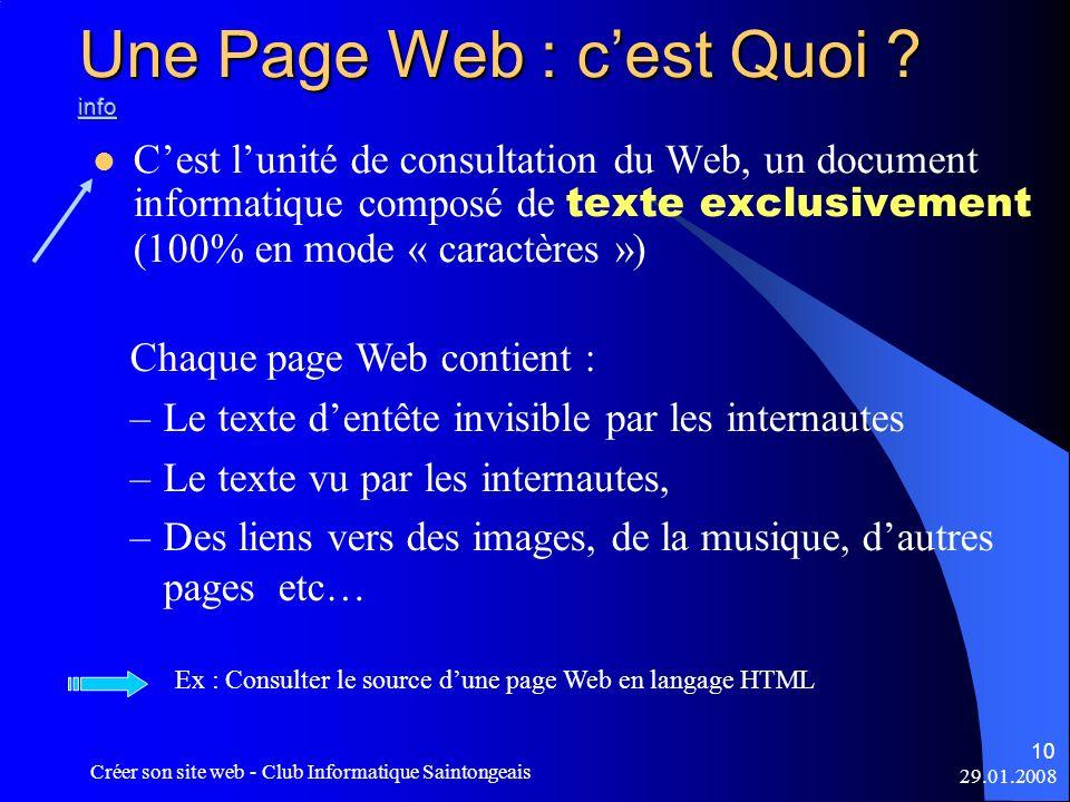 Une Page Web : c'est Quoi info