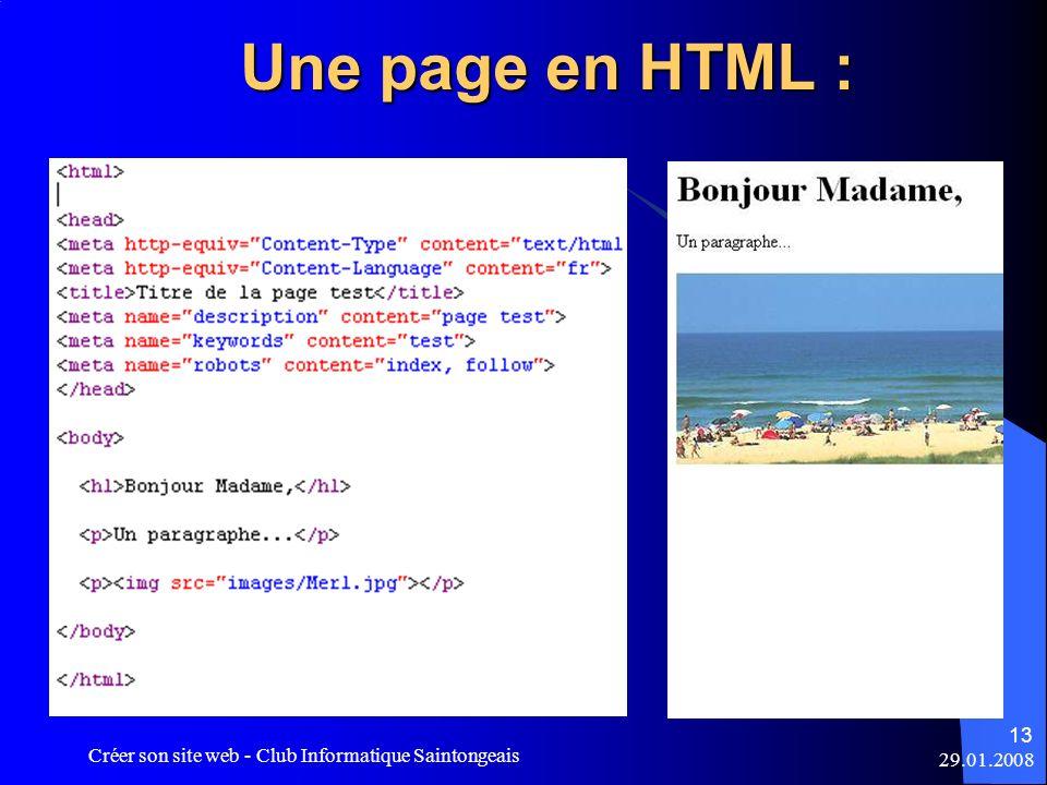 Une page en HTML : Créer son site web - Club Informatique Saintongeais