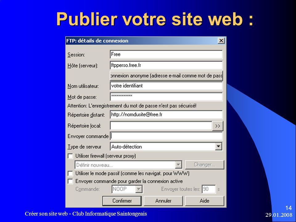 Publier votre site web :
