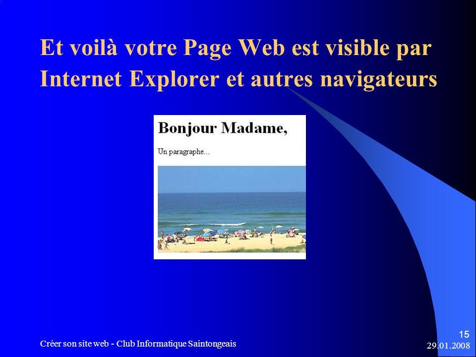 Et voilà votre Page Web est visible par