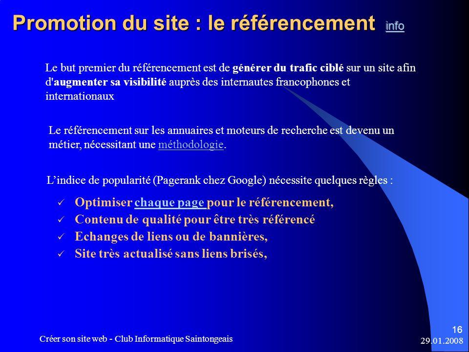 Promotion du site : le référencement info