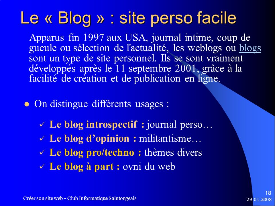 Le « Blog » : site perso facile