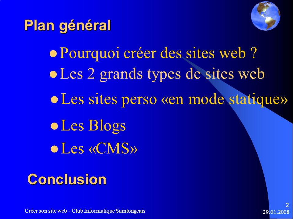 Pourquoi créer des sites web Les 2 grands types de sites web