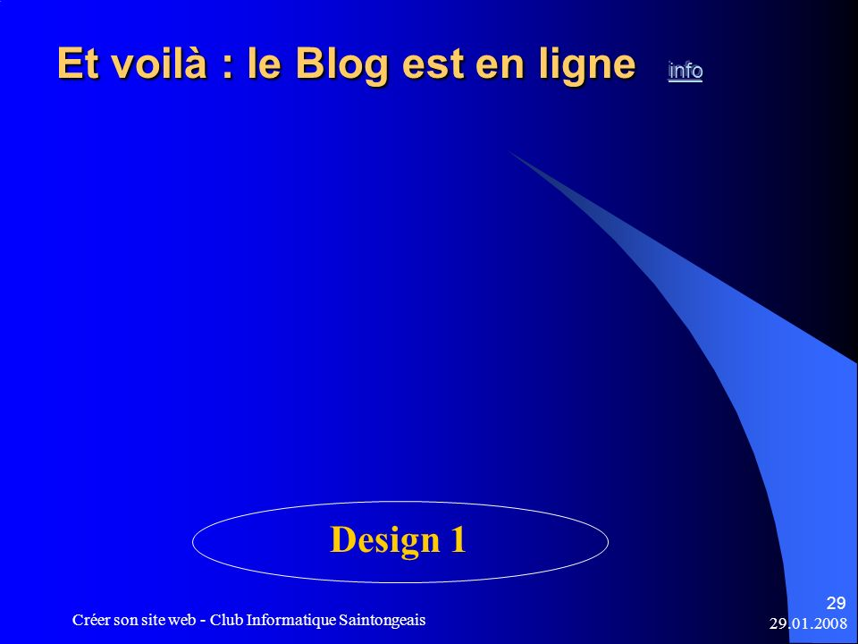Et voilà : le Blog est en ligne info