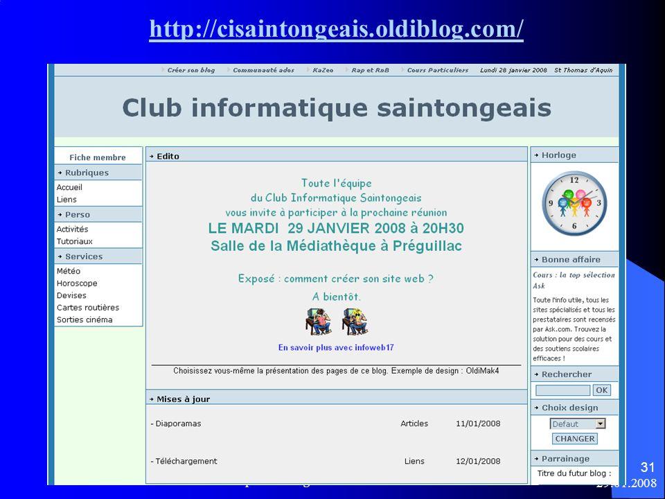 http://cisaintongeais.oldiblog.com/ Créer son site web - Club Informatique Saintongeais 29.01.2008