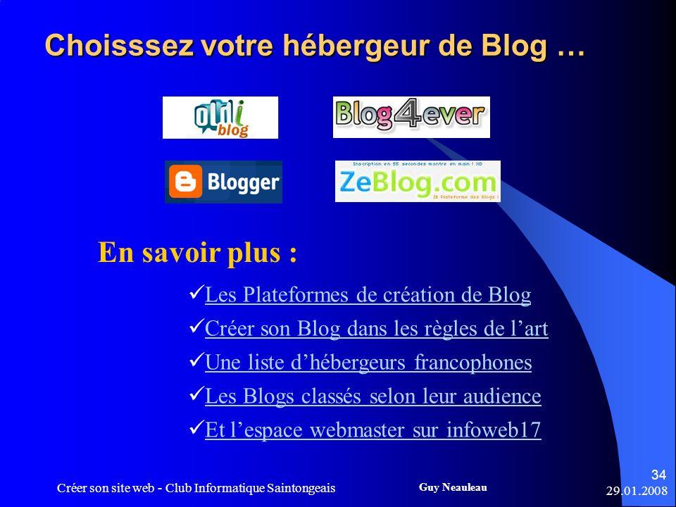 Choisssez votre hébergeur de Blog …