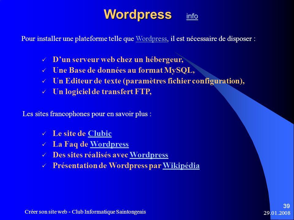 Wordpress info D'un serveur web chez un hébergeur,