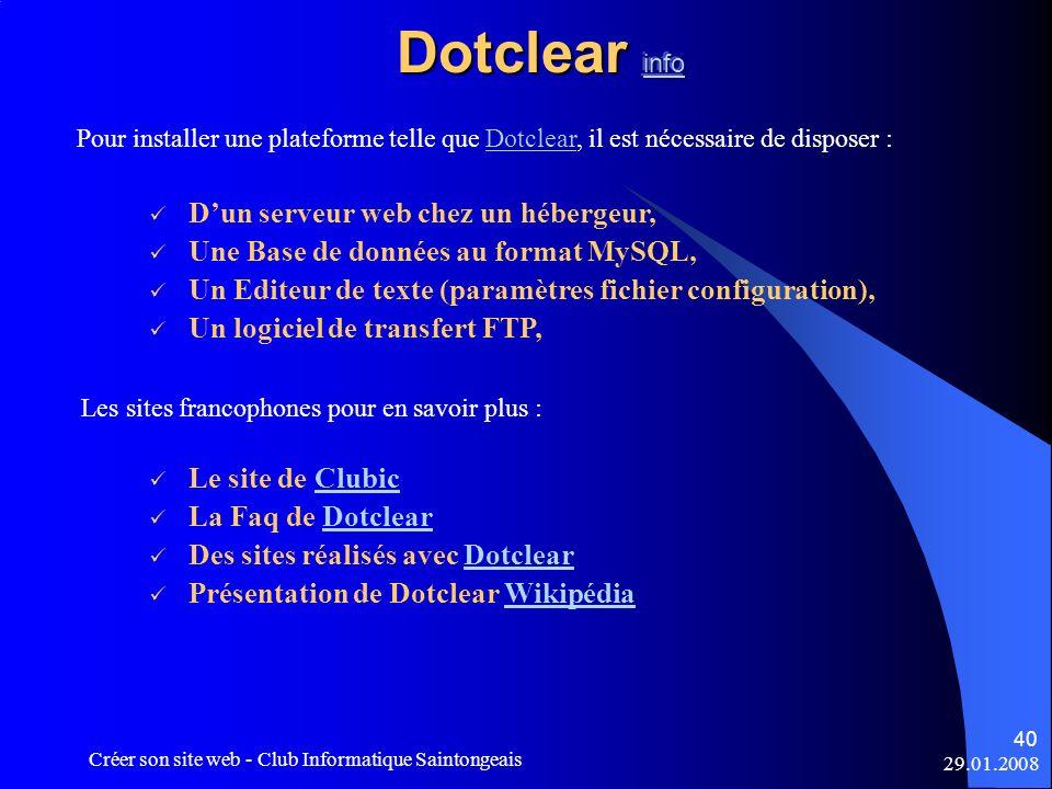Dotclear info D'un serveur web chez un hébergeur,